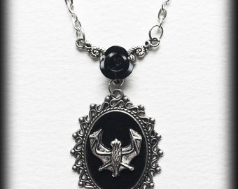 Gothic Vampire Bat and Black Rose Cameo Necklace
