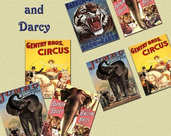 CIRCUS posters digital collage sheet, ATC, vintage 3.5 x 4.5 inch images, download!