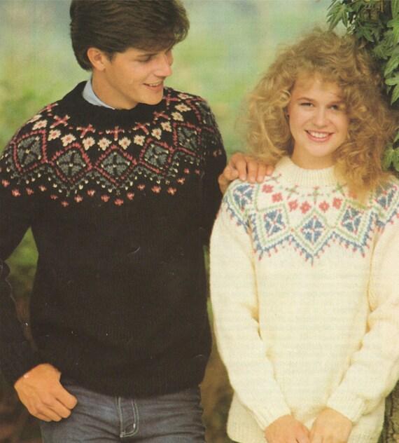 Womens and Mens Fair Isle Yoke Sweater PDF Knitting Pattern ...