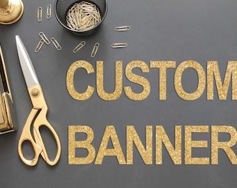 """Custom Banner / 5.5"""" Tall Gold Glitter Custom Banner / Custom Party Glitter Banner / Bachelorette Party Banner / Glitter Name Banner"""