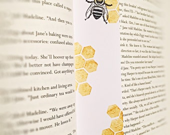 Honeycomb Bee Bookmark, Bee bookmark, divider, page marker