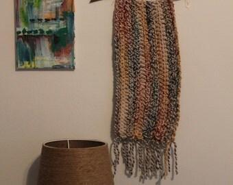 Handmade Crochet Wall Hanging, Hudson Bay Stripes, Rustic Decor