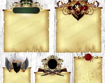 5 Heraldry scroll, parchment scroll, antique paper, medieval Frames, wedding invitation,ornate floral frames,digital frames, scrapbooking