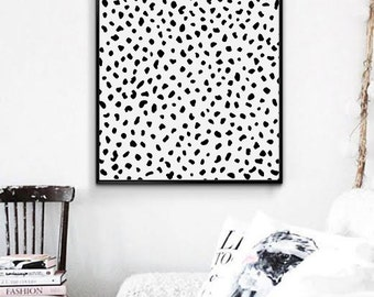 Dalmatian printable poster.Black dots poster. Modern Art Printable. Desktop, office minimalist artwork. Scandinavian art. Instant