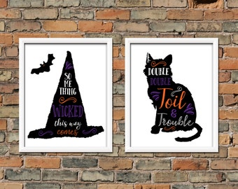 Halloween Double Double Toil and Trouble Printable Something Wicked This Way Comes Halloween Print Black Cat Bat Witch Hat Halloween Decor