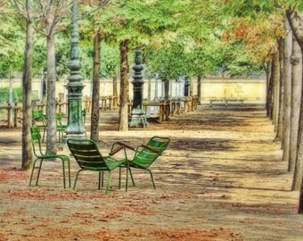 Autumn in Paris, green chairs, autumn leaves, Paris France, Paris art print, green, 16x24, fine art photography, Paris wall art, home decor