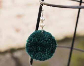 Emerald Green Fluffly Wool Blend Poms Poms