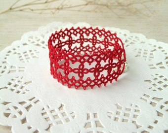 Unique gift for her Red wide cuff bracelet for woman Tatting lace bracelet Stackable bracelet Adjustable boho bangle  Elegant fancy bracelet
