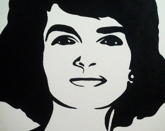 Jackie Kennedy Black and White Painting
