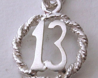 Genuine SOLID 925 STERLING SILVER 13 th birthday charm/pendant