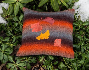 "Pillow ""Lifeblood"" with colourful ginkgo tree leafs"