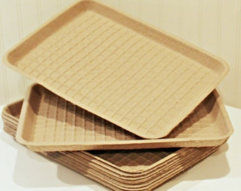 Food Trays, 8 Brown Kraft Trays, Disposable Plates, Sturdy Cardboard Trays, Rustic Weddings, Outdoor Party Plates, Food and Drink Carrier