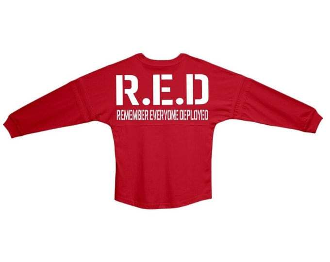 Red Friday - Remember Everyone Deployed  | Oversized Red Rugby Jersey Pom Pom