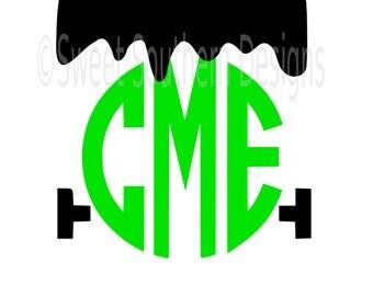 Frankenstein monster boys halloween monogram SVG instant download design for cricut or silhouette