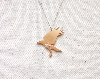 Bronze and Silver Handmade Raven Bird Necklace Pendant