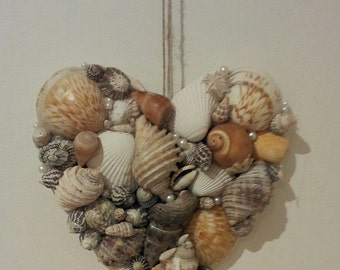 Seashell Heart Wall Decor, Wall Art, Sea Shell Wall Hanging