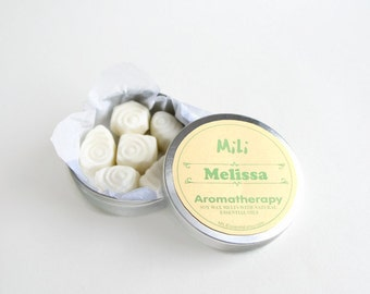 Soy wax melts with Melissa essential oil -- Aromatherapy soy wax tarts -- Melissa Aroma