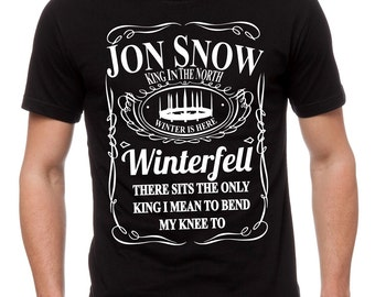 King In The North T-Shirt - JON SNOW Shirt - Game Of Thrones Inspired Black Mens T-Shirt