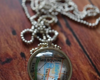 Melbourne Map Dome Necklace