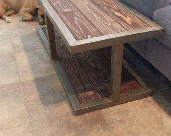 Free Shipping - Hand Crafted Industrial Metal and Wood Coffee Table