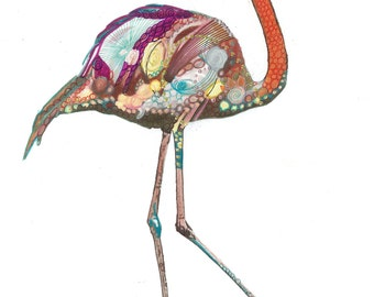 "Flamingo/Bird/Art Print/Nature/Nursary Decor/Abstract/Mixed Media A3 (16.53X11.69"")"