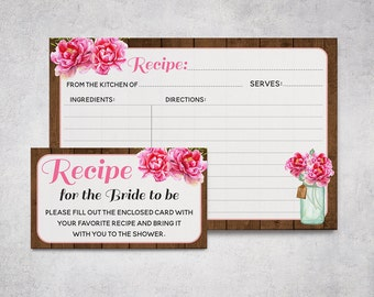 Printable Recipe Cards, Rustic Bridal Shower, Mason Jar Recipe Card, Bridal Shower Activity, Pink Flowers, Wood Floral, Download 4x6 5x7