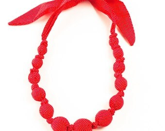 Girls Beaded Cloth Necklace - Teeny Dots - Red