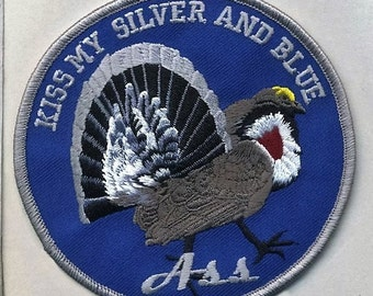 Kiss My Silver and Blue Grouse Patch