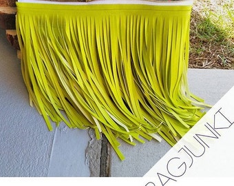 Lime Green Verge Fringe Clutch