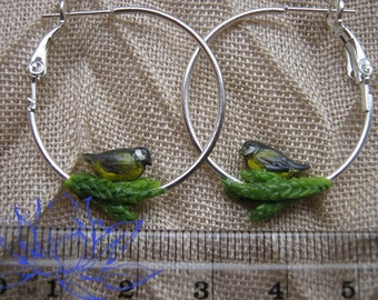 earrings, rings, earrings with birds, winter earrings, winter birds