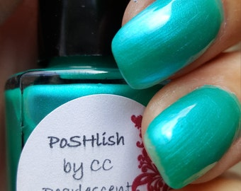 "Unique ""Vivacious"" Pearlescent Aqua Nail Polish Full Size 15ml Bottle"
