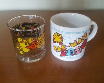 Vintage Set of Pac-Man Mug and Juice Glass