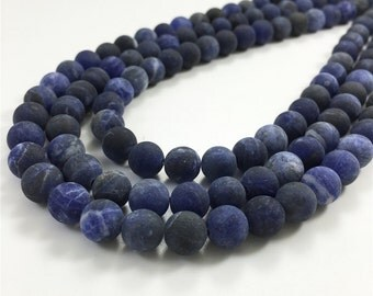 8mm Matte Sodalite Beads, Round Gemstone Beads, Wholesale Beads
