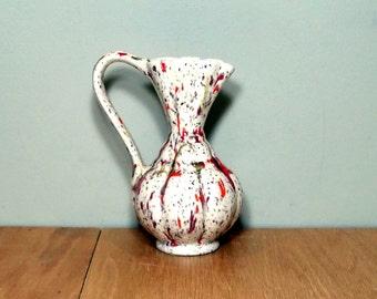 Mid Century Vase Retro Orange Spatter Small Vase Pitcher Style Vintage Vase