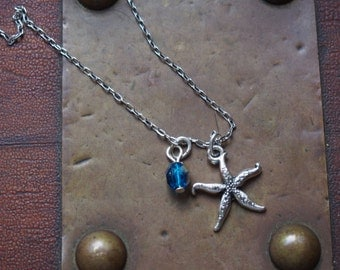 starfish necklace, starfish, water,silver,stainless steel,blue