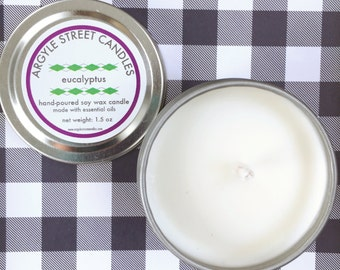 Soy Candle Essential Oil Eucalyptus Tin Container Candle