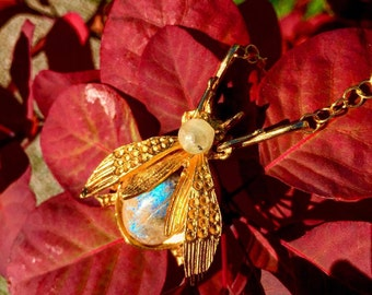 Vintage 1950s Labradorite Gold Bug Necklace on Gold Vermeil Chain-LIMITED EDITION-So Special!