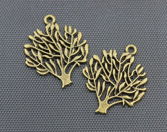 20pcs Life Tree Charm Antique Bronze Tone 25x25mm - BH8
