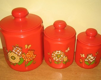 Orange/Tin 3 piece canister set
