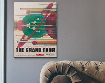 NASA Visions of the Future - The Grand Tour Handmade Vintage Wooden Poster | Travel poster, NASA poster, Travel poster vintage