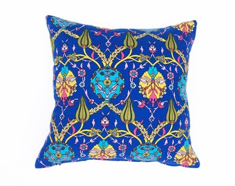 Blue square throw pillow cover