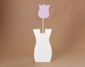 Handmade Wood Tulip Flower in Vase Decoration