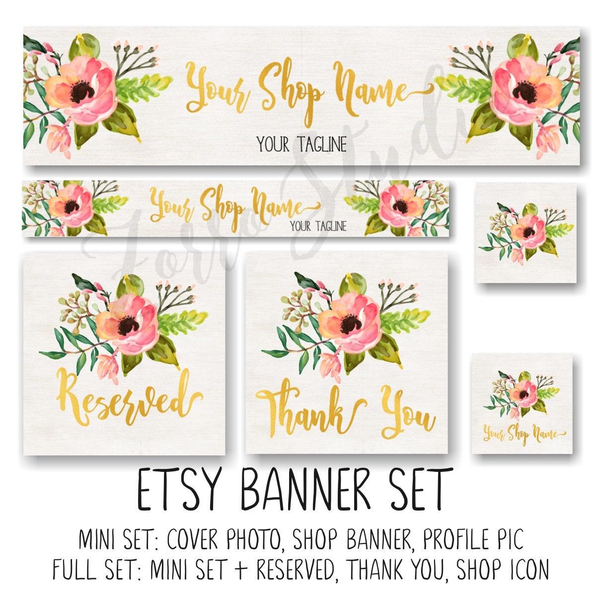 etsy banner set rustic floral peonies boho facebook timeline. Black Bedroom Furniture Sets. Home Design Ideas