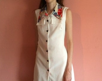 Vintage Cream Button Down Dress With Printed Collar