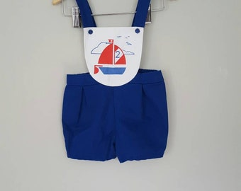 Vintage Sailor Nautical Sailboat Overall Style Romper for Babies
