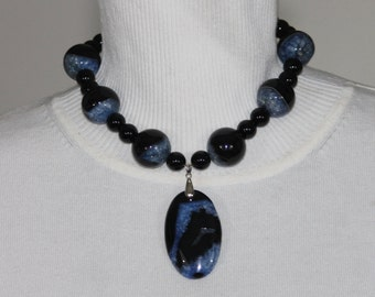 Black/Blue Agate Onyx Necklace