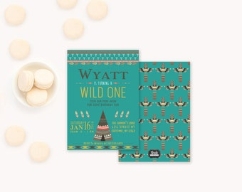 Wild One First Birthday Invitation, Boys First Birthday Invitations, Baby Boy 1st Birthday Party, TeePee Invitation, Bohemian Boho Tribal