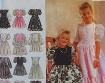 UNCUT Girls' Full-Waist Dress in 2 Lengths Simplicity 8754 Size 7-8-10-12