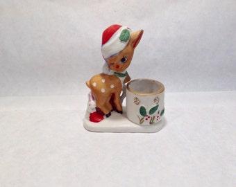 Reindeer Jasco Vintage Christmas Whatnot Luvkins Candle Holder Jasco 1978