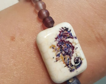 Purple Glass & Seahorse Stretch Bracelet